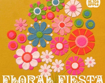 DIY Floral Fiesta Felt Applique Wallhanging Pattern PDF with Templates and Instructions