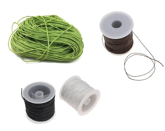 Waxed Linen Cord 1mm - 10 meters / 32.8 ft - Green, Brown, White, Black