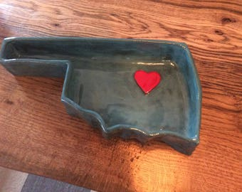 Turquoise Oklahoma Dish with heart