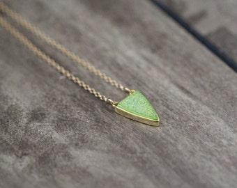 Druzy Triangle Necklace , Apple Green Druzy Quartz Gold or Sterling Silver Bezel Pendant Necklace, Boho Layering - Finn