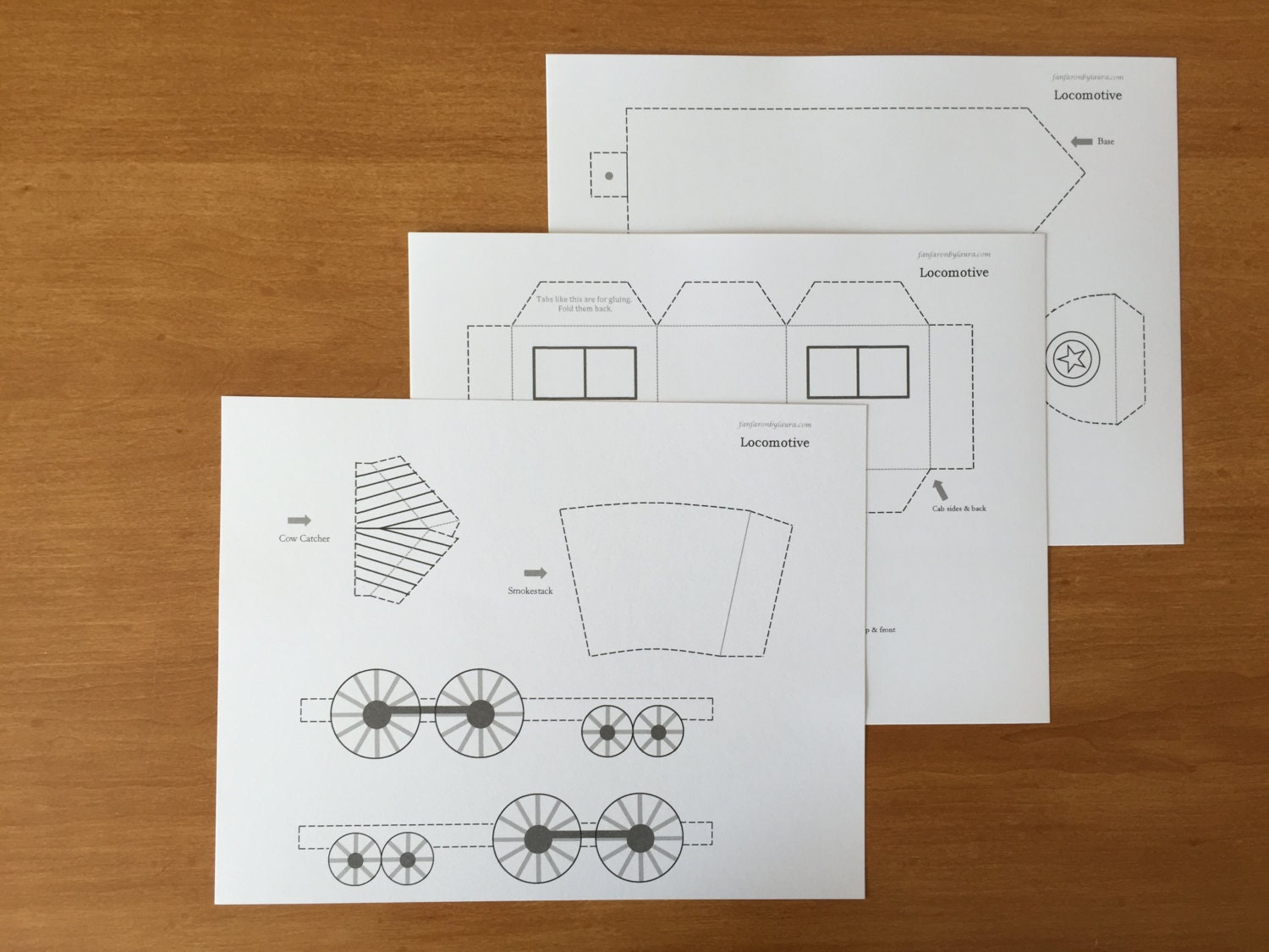 3D Paper Train: Instant Download Template from Fanfaron on Etsy Studio