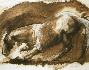 Horse Laying Down, Animal, Contemporary Original Fine Art, Mixed Media Horse Drawing