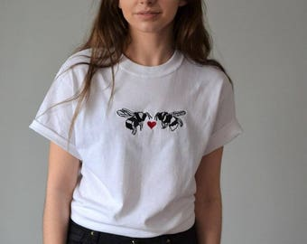 Meant to bee Embroidered White valentine t-shirt