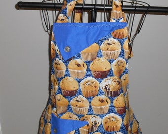 Blueberry Muffins - Women's Apron - Ruffle - Pocket - Breakfast - Food - Baking