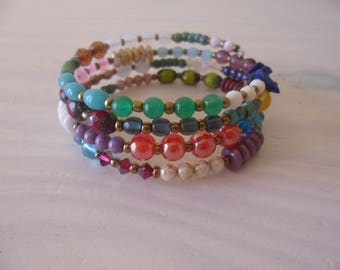 Bracelet multi-turn cuff, Bohemian bracelet 4 rows, Czech beads and semi precious