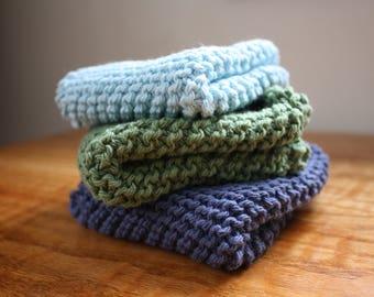 Gram's Favorite Washcloth // set of three // hand knit wash or dish cloth