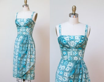 1950s Sarong Dress / 50s Abstract print  Cotton Sundress