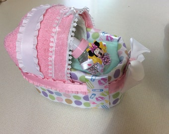 PERSONALIZED Baby Diaper Bassinet, Baby Shower Centerpiece, Baby Shower Decoration, Baby Girl or Boy
