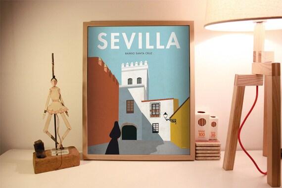 Seville. Spain. Wall decor art. Poster. Illustration. Digital print. Cities. Travel.