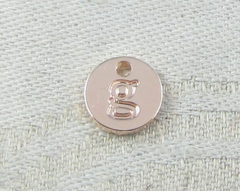 1 or 5, Initial Charm, Charm Bracelet, Lower Case Letter, Rose Gold Letter, Initial Pendant, Alphabet Charm, Lower Case Charm, ALF021g-RG