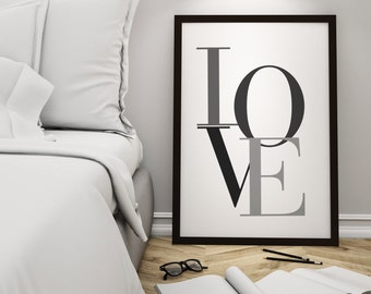 Love Typography Print, Valentines Day, Love Print, Typography, Minimalist Love Poster, Valentines Gift, Newlywed Gift, Housewarming Gift
