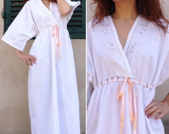 French antique edwardian White Cotton Lace Exquisite night gown