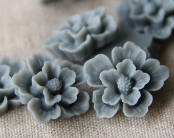 12 pcs of sakura flower cabochon-22mm-rc0166-5-grey