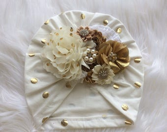 Turban with flowers ,gold and ivory