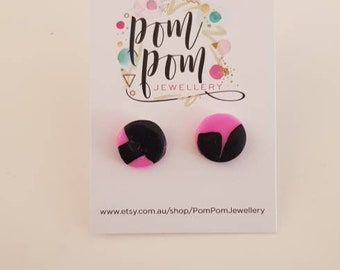 Polymer clay handmade pink and black studs