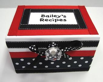 Newlywed Recipe Box -Red white and Black