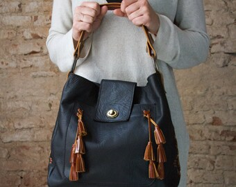 Leather purse, Tassels leather bag, Leather shoulder bag, Black leather bag, leather purse handmade, Leather purse with tassels