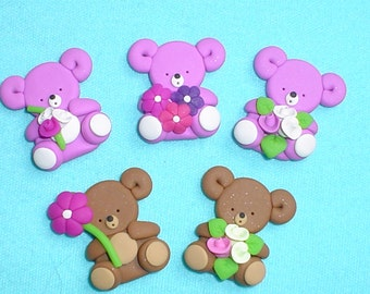 5 cute bears - card making embellishments / polymer clay toppers