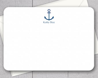 Anchor and Name Note Cards - 12pk, Custom Flat Note Cards, Printed with Envelopes (NC-008)
