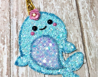 Glitter Narwhal hair clip/Headband /Kawaii/teaandtoast/summer