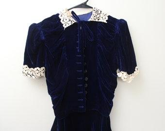 1930s/40s Royal Blue Velvet Dress