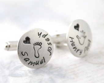 Father's Day Gift, Sterling silver cufflinks, personalized dad cufflinks, personalized cuff links, mens personalized cufflinks