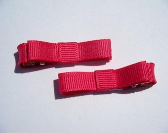 2 Small Pink Hair Bows - No Slip Grip