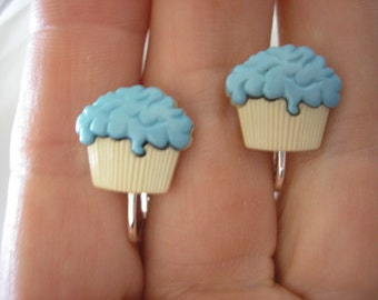 """Play Earring - Clip - Cupcake - Turquoise/Beige - 1/2"""""""