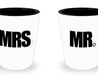 Couple Shotglass, Romantic Matching Gift Set, Mr & Mrs , For Boyfriend Girlfriend Husband Wife, Couples Fiancee Dating Engagement Theme