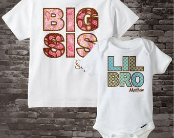 Girls and Boys Set of Two, Big Sister and Lil Little Brother Personalized Infant, Paisley and Plaid Childs Tee or Onesie 10262011a