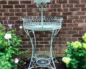 Antique Iron Garden Wire Plant Stand , Vintage /Rustic Wedding Cupcake Stand,Vintage Garden Decor , Wrought Iron Plant Stand