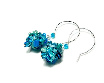 Handmade Artisan Blue Dangle Earrings, Turquoise Drop Earrings, Fabric Earrings,  Fiber Art Jewelry, Aqua Blue, Bead Dangle, Sterling