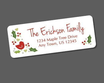 Christmas Bird Address Labels, Winter Return Address Label Stickers, 60 labels, Christmas Address Stickers, Holiday Labels, Holly