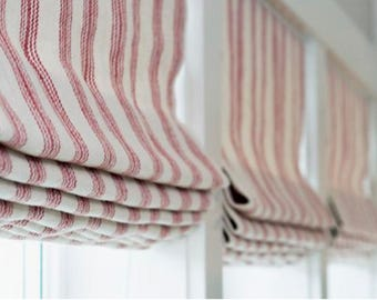 Red Stripe Curtains Etsy