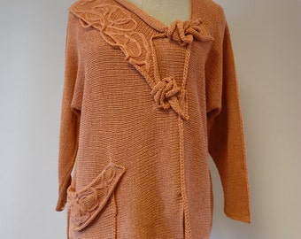 Knitted tangerine cotton sweater, L size.