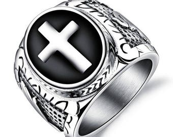 Beautiful Signet Ring stainless steel and enamel black cross religious