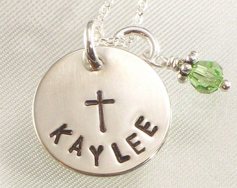 Personalized Cross Necklace - Hand Stamped with Name on Sterling Silver Charm - Confirmation or First Communion , Baptism - For Her Birthday