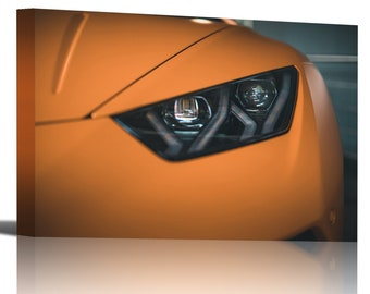 Lamborghini Huracan Headlight Orange Art Print Wall Decor - Canvas Stretched Framed