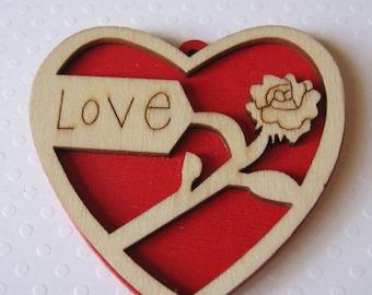 Big heart wooden pendant