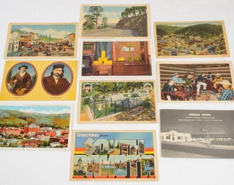 Vintage LITHOGRAPH POSTCARDS LOT South Dakota 1800s Deadwood Wild Bill Linen usa