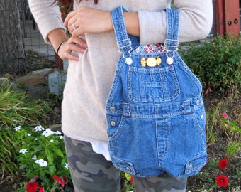 UPCYCLED TINY DENIM Overalls -  Franken-Purse 9 Pocket Handbag -   with Vintage Gold Candy pin / Eco Friendly Gift 0#50