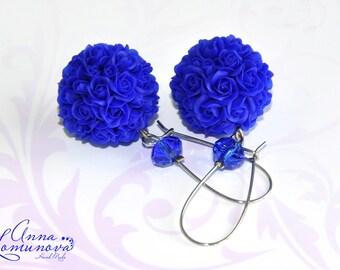 Royal blue earrings Rose Ball Earrings Blue rose earrings Blue Flower Jewelry Girlfriend gift Blue bridal earrings Blue flower earrings gift