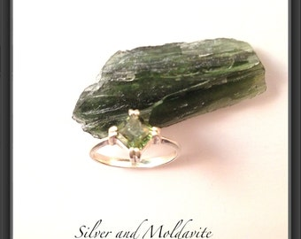 Sterling Silver ring with faceted square Moldavite US size 8