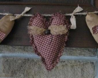 Primitive Heart Garland - 3 Valentine Grungy Fabric Stuffed Hearts - Muslin & Homespun Valentine's Day Decor - Wedding or Anniversary