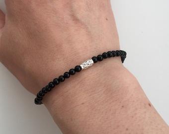Black Onyx bracelet with Sterling silver, mens bracelet, boyfriend gift for him, unisex stacking bracelet, stretch bracelet, Fathers Day