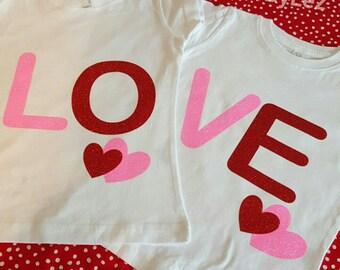 Love Valentine's Day Glitter Shirt Set