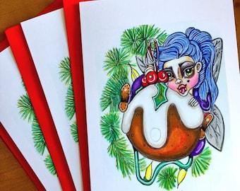 Ornament A5 greeting card Mythicalponez fairy Christmas cartoon popart Fairytale fantasy whimsical surreal pop surrealism big eyes drawing
