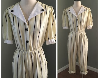 Vintage Pinstripe Jumpsuit with Pockets - 80s Size Medium