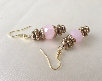 The Age of Innocence Baby Pink Glass and Gold Handmade Dangle Earrings,OOAK,Faceted Czech Glass Bads, Belle Epoque Inspired,Romantic Chic