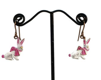 Easter Earrings, Easter Bunny, Easter Rabbit, Hare Earrings, Rabbit Earrings, Easter Jewelry, Handmade, OOAK Easter Earrings, Bunny Rabbit